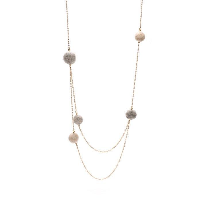 Random Felt Ball Doble Necklace(小粒フェルトのロングネックレス)