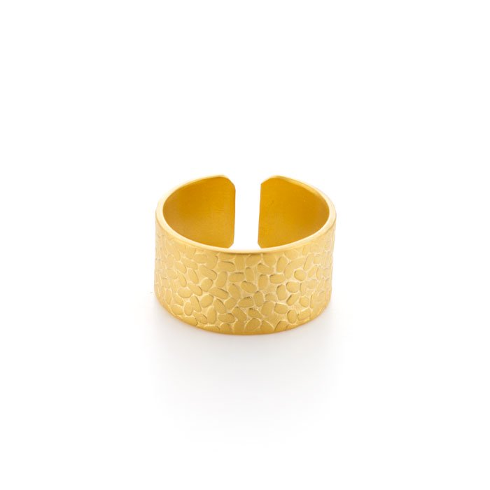 Wide Textured Ring - Rice(米粒模様の幅広リング)