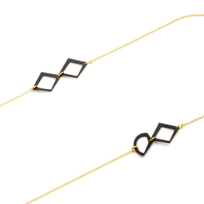 Aluminium Long Necklace - Simple/Gold(シンプルなアルミ製モチーフのロングネックレス ゴールド)