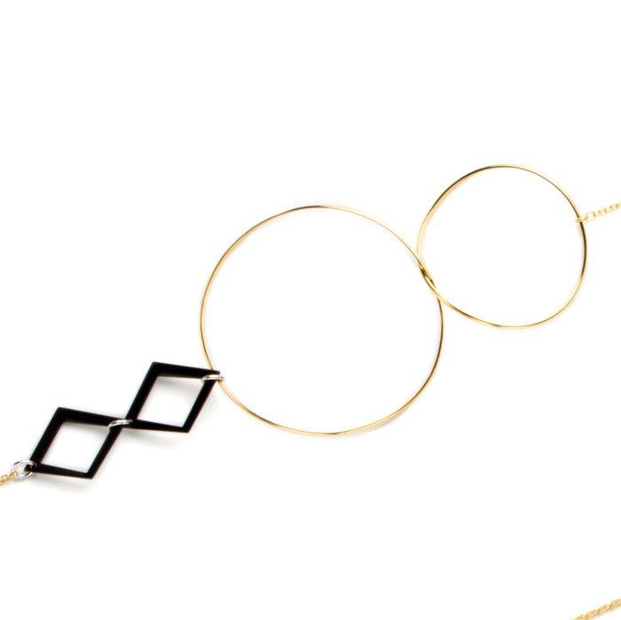 Aluminium Long Necklace - Gold(フープとアルミ製モチーフのロングネックレス ゴールド)