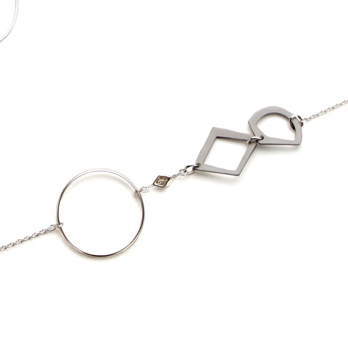 Aluminium Long Necklace - Silver(フープとアルミ製モチーフのロングネックレス シルバー)