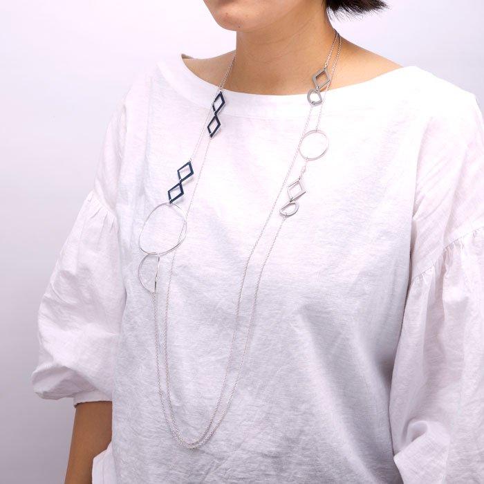 Aluminium Long Necklace - Simple/Silver(シンプルなアルミ製モチーフのロングネックレス シルバー)