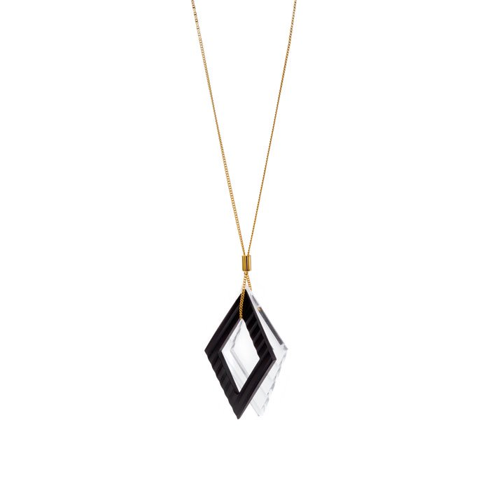 Wave Pattern Motif Necklace-Black(波型カットしたモチーフのネックレス ブラック)