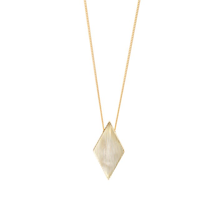 ダイアモンド型モチーフのロングネックレス