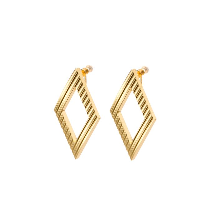 Wave Pattern Aluminium Earrings- Rhombus(アルミのダイヤ型イヤリング)