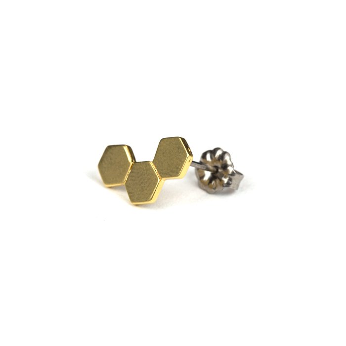 Geometric Pattern Posts - Honeycomb(幾何学模様のピアス-ハニカム)