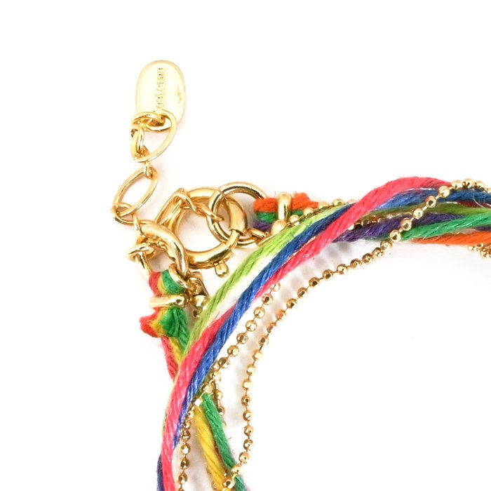 Hemp and Chain Anklet / Necklace - Rainbow (ヘンプとチェーンのアンクレット - レインボー)