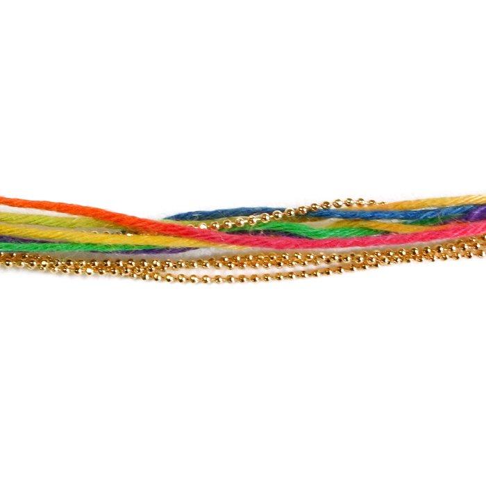 Hemp and Chain Bracelet - Rainbow (ヘンプアンドチェーンブレスレット - レインボー)