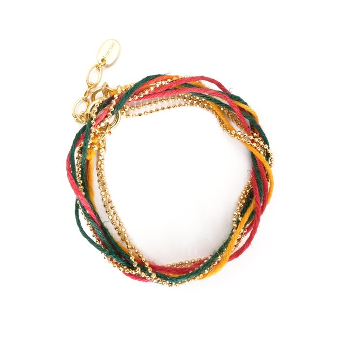 Hemp and Chain anklet / Necklace - Earth Color (ヘンプとチェーンのアンクレット - アースカラー)
