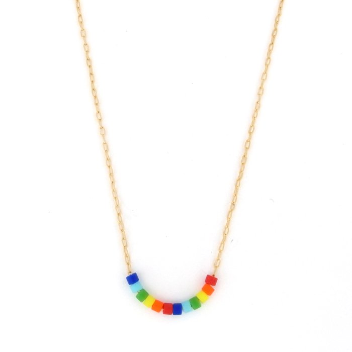 Skinny Beaded Necklace - Rainbow