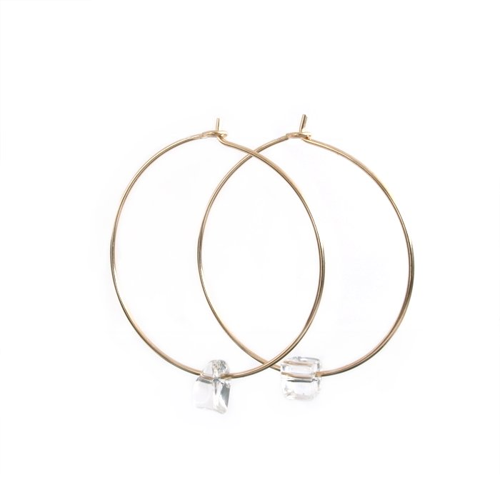 Tumbled Quartz Hoops