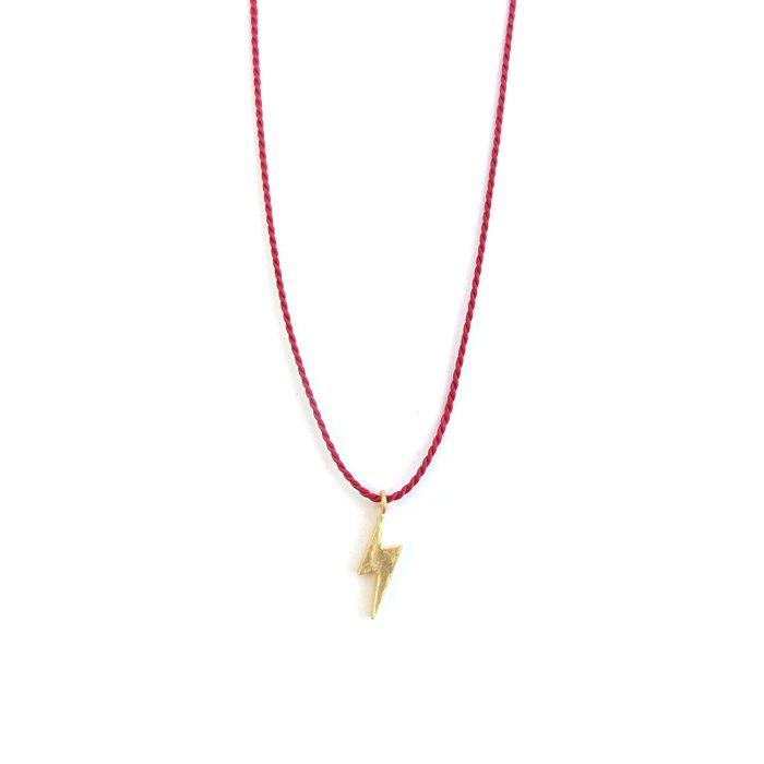 鎚目テクスチャのイナズマモチーフにシルクの紐を合わせたネックレス