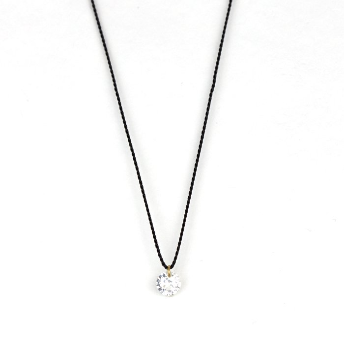 Small Bare Gem Silk Necklace