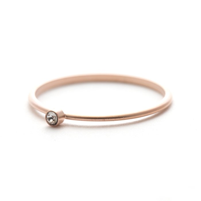 Tiny 1 Stone Ring (Matte Color) - Crystal
