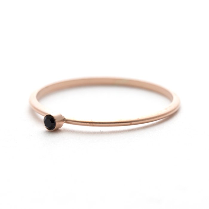 Tiny 1 Stone Ring (Mat Color) - Jet