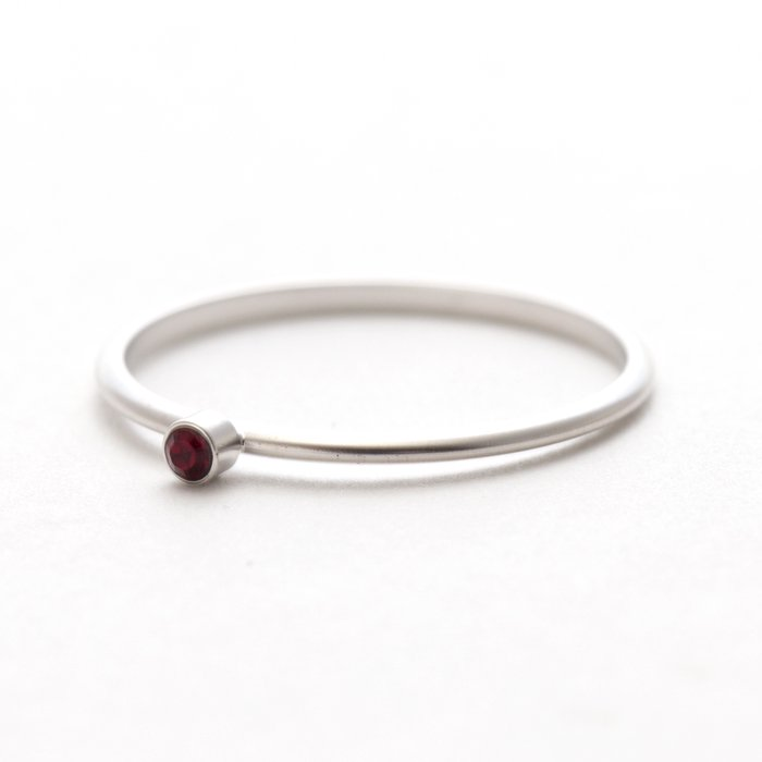 Tiny 1 Stone Ring (Mat Color) - Ruby