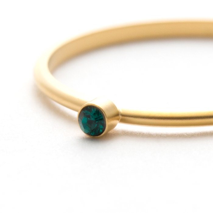 Tiny 1 Stone Ring (Mat Color) - Emerald
