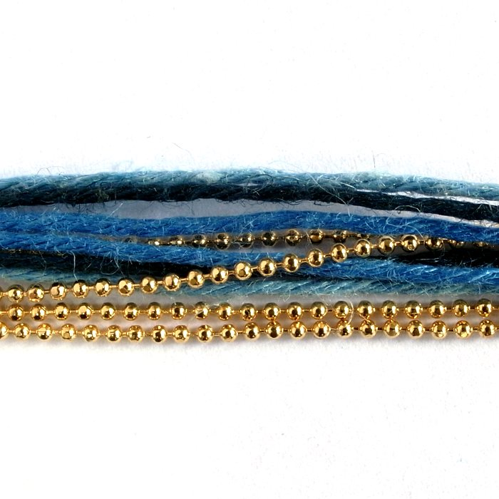 Hemp and Chain anklet / Necklace - Indigo (ヘンプとチェーンアンクレット - インディゴ)