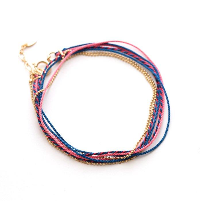 Kumihimo and Chain Bracelet - 01 (くみひもチェーンブレスレット - 01)