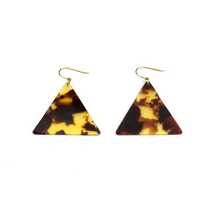 Celluloid Hooks - Tortoiseshell - Triangle(セルロイドピアス べっ甲 三角)