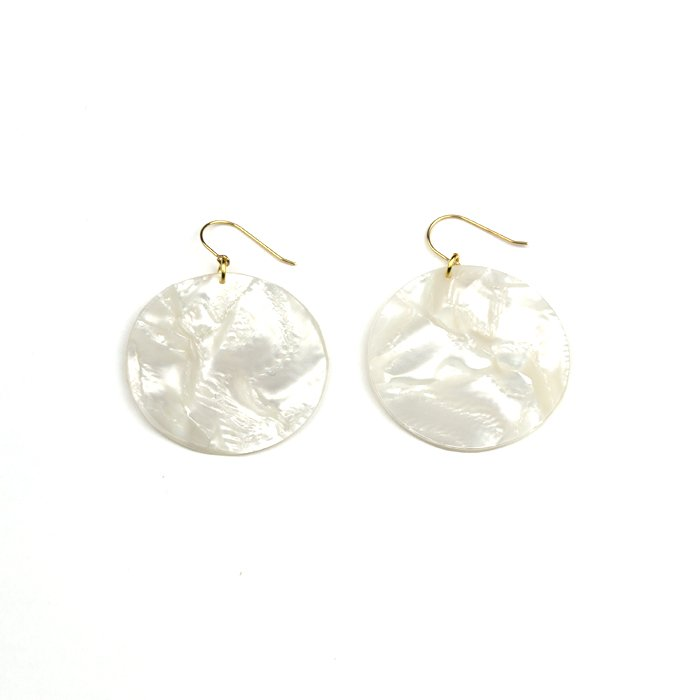 Celluloid Hooks - Pearl - Circle(セルロイドピアス パール 丸)