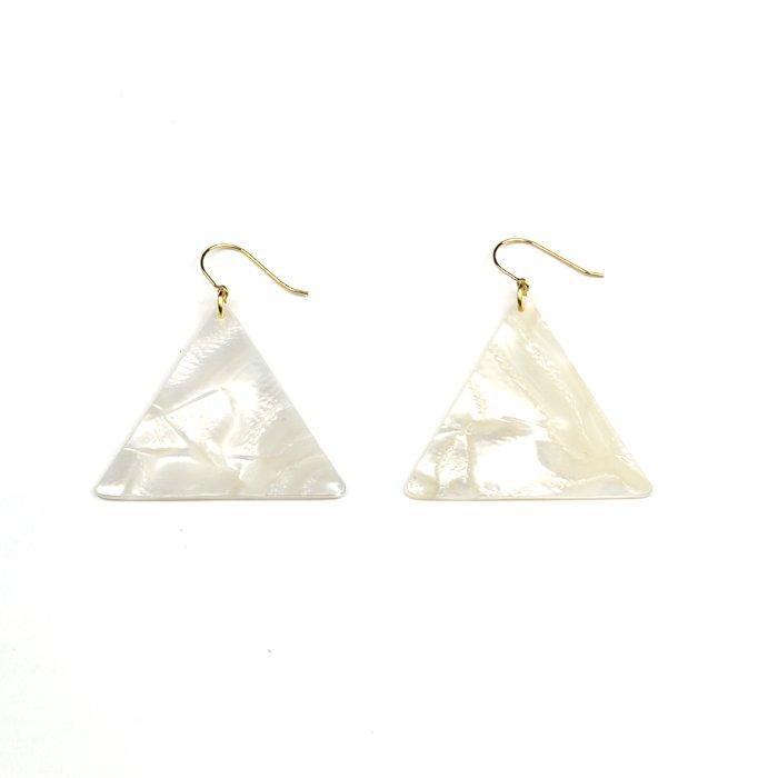 Celluloid Hooks - Pearl - Triangle(セルロイドピアス パール 三角)