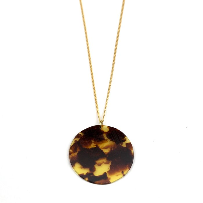 Celluloid Necklace - Tortoiseshell - Circle(セルロイドネックレス べっ甲 丸)
