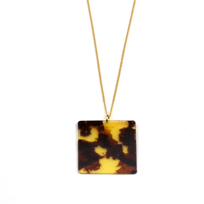 Celluloid Necklace - Tortoiseshell - Square(セルロイドネックレス べっ甲 四角)