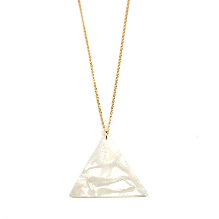 セルロイド素材のパール柄の三角形モチーフのネックレス