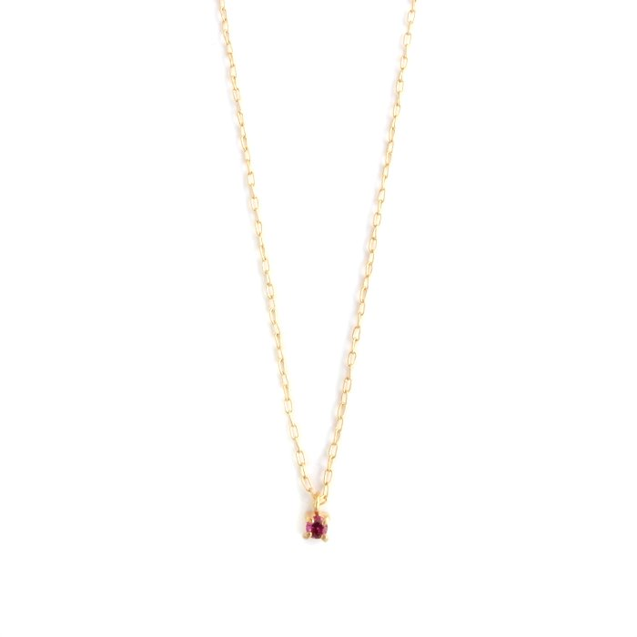 Tiny Gem Necklace - Ruby