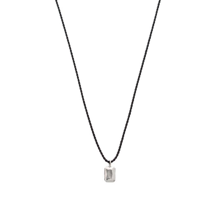 Casted Gem Silk Necklace - Emerald Cut(シルク紐の宝石モチーフネックレス)