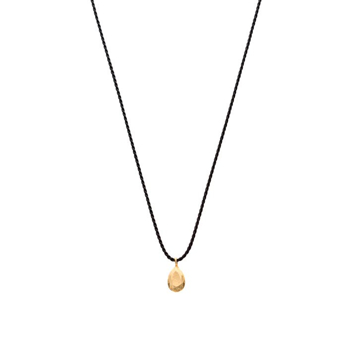 Casted Gem Silk Necklace - Pear Shape Cut(シルク紐の宝石モチーフネックレス)