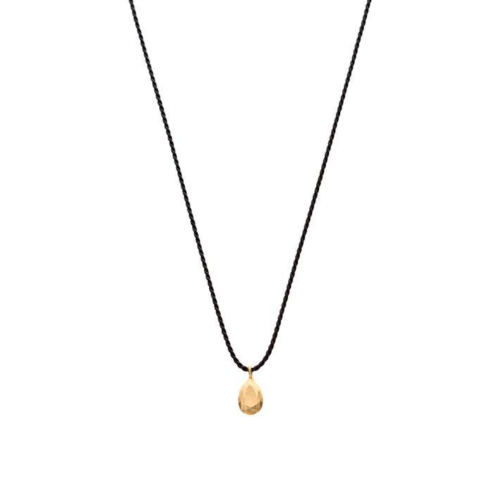 ペアシェイプカットの金属の宝石のシルク紐のネックレス