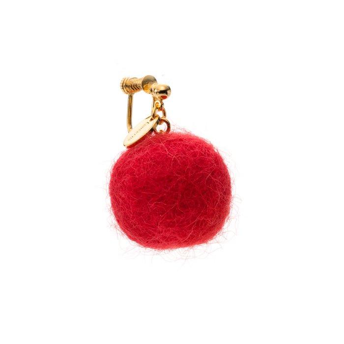 フェルトボールのイヤリング 赤