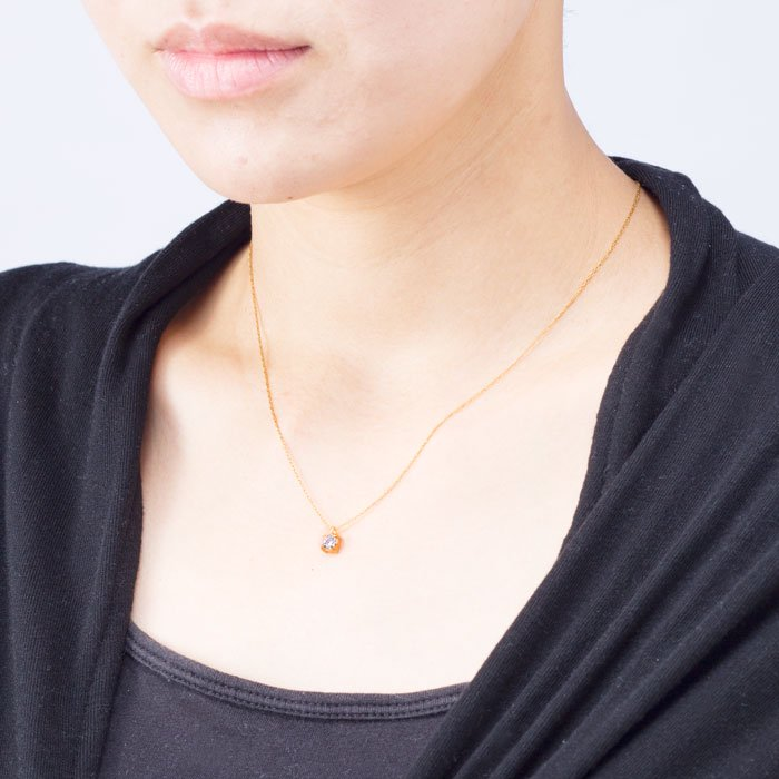 4mm Round - 4 Claw Necklace(4mmラウンドカットのジルコニアネックレス)