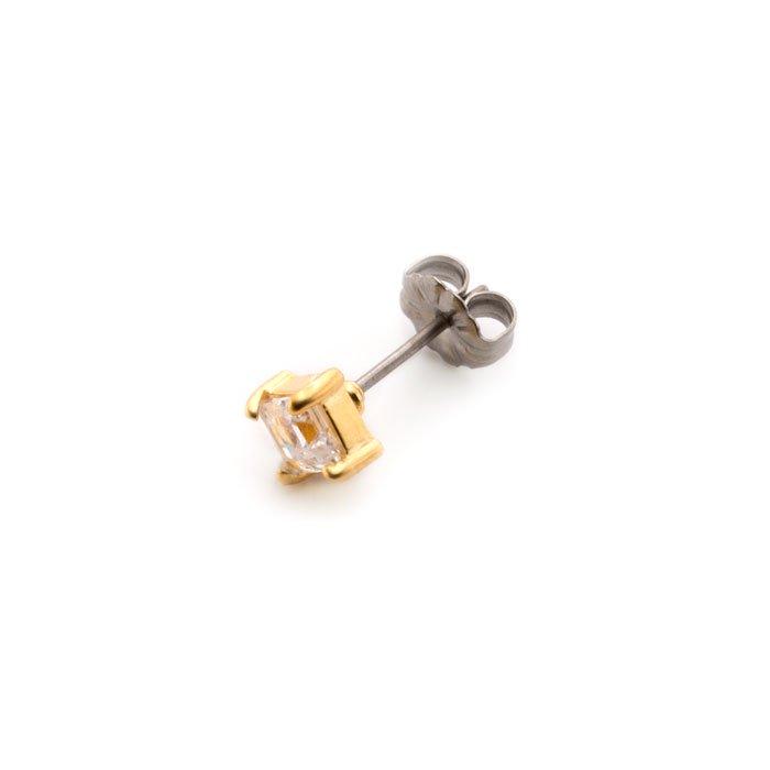 4mm Square 45°- 4 Claw Posts(4mmステップカットのジルコニアピアス)