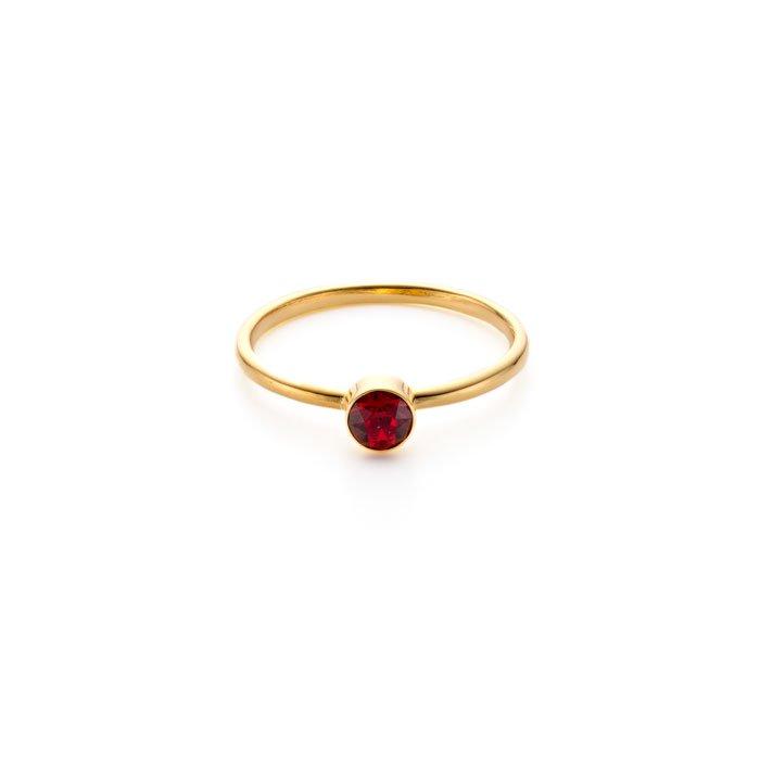 Basic 1 Stone Ring -Siam(ベーシックな赤いスワロフスキーのリング)