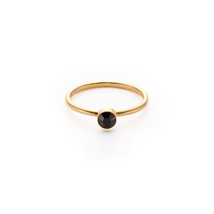 Basic 1 Stone Ring -Jet(ベーシックな黒いスワロフスキーのリング)