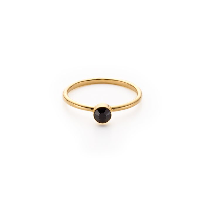 Basic 1 Stone Ring ,Jet(ベーシックな黒いスワロフスキーのリング)