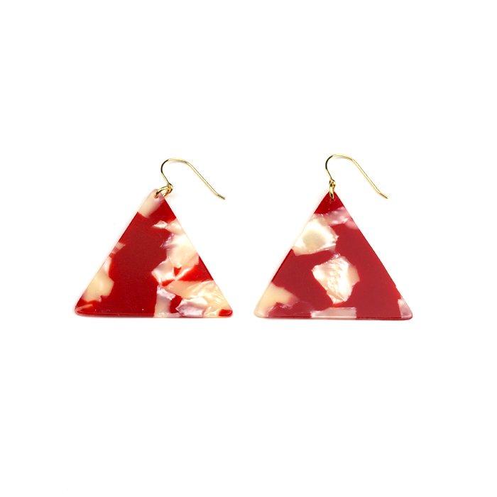 Celluloid Earrings - Goldfish - Triangle(セルロイドイヤリング 金魚 三角)
