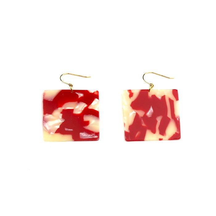 Celluloid Earrings - Goldfish - Square(セルロイドイヤリング 金魚 四角)