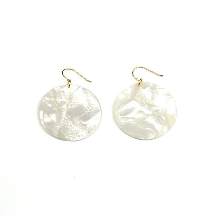 Celluloid Earrings - Pearl - Circle(セルロイドイヤリング パール 丸)