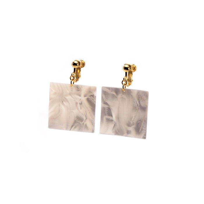 Celluloid Earrings - Pearl - Square(セルロイドイヤリング パール 四角)