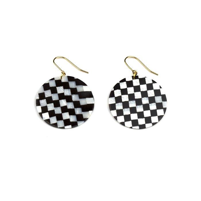 Celluloid Earrings - Check - Circle(セルロイドイヤリング チェック 丸)