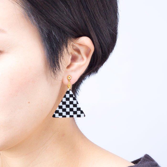 Celluloid Earrings - Check - Square(セルロイドイヤリング チェック 四角)