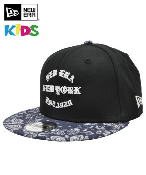 <img class='new_mark_img1' src='https://img.shop-pro.jp/img/new/icons5.gif' style='border:none;display:inline;margin:0px;padding:0px;width:auto;' />NEW ERA Youth 9FIFTY 60/40 クロス ペイズリー NEW ERA EST.1920 ブラック ネイビーペイズリーバイザー 11556861
