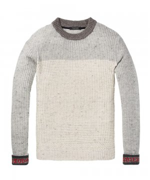 Nepped Chunky Pullover / グレー×アイボリー [292-65435]