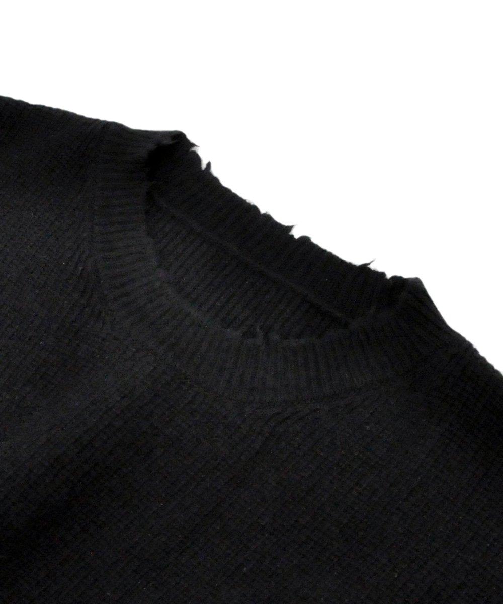 RIB OVERSIZE CREWNECK / ブラック [UMHE003F190630011000]