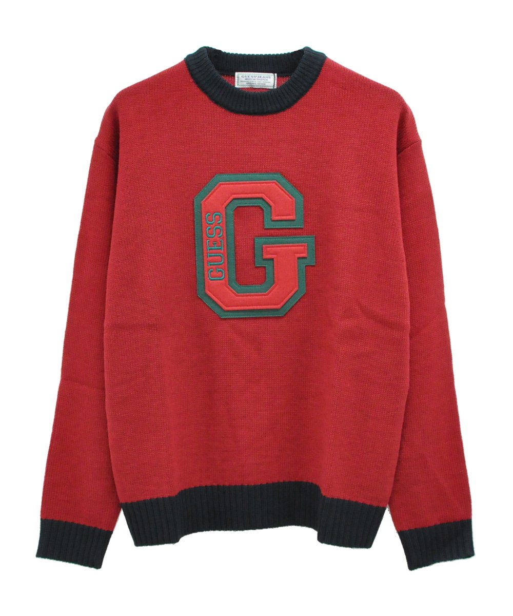 GUESS PATCH KNIT / ワイン [MJ4S8326IA]