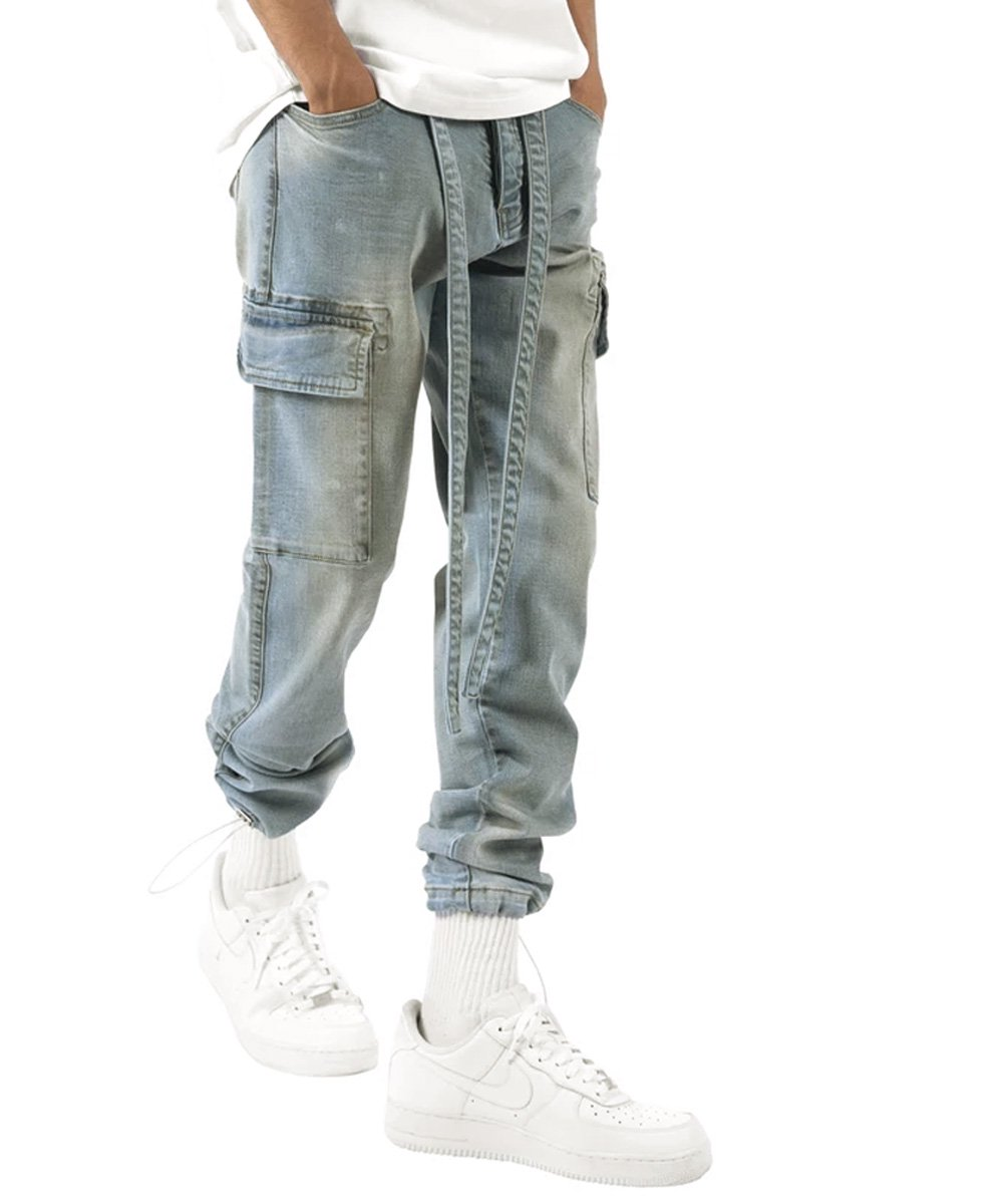 DENIM CARGO PANTS / ブルー
